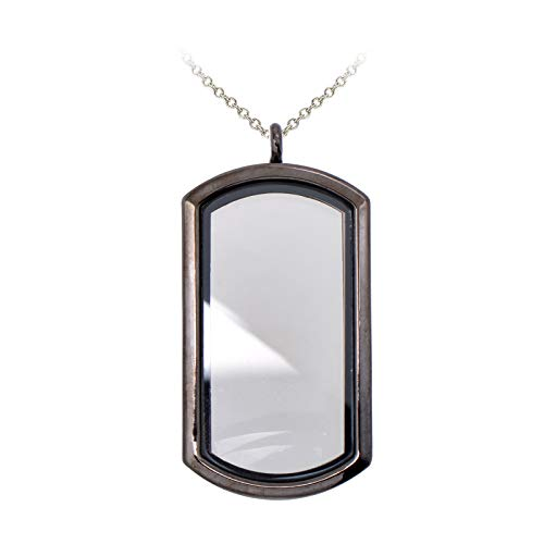 professional Paialco Magnetic Rectangular Glass Locket Pendant Necklace – Black