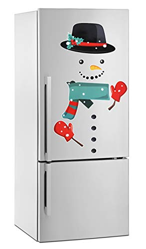 Roberly Snowman Christmas Magnets, Cute Funny Fridge Magnets Refrigerator Magnets Christmas Decorations for Fridge, Metal Door, Garage, Office Cabinets (Large)