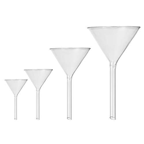 iplusmile 4 Stück Dreieck Glaslabor Trichter Kurzer Stiel Glas Trichter Labor Glas Trichter Glastrichter Küche Kleine Glastrichter zum Befüllen Kleiner Flaschen (40Mm + 50Mm + 75Mm + 100Mm)