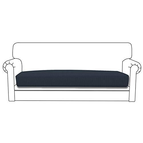 Easy-Going Funda de cojín elástica para sofá, funda de sofá, funda de sofá, funda de sofá, suave flexibilidad con parte inferior elástica (cojín de sofá, azul oscuro)