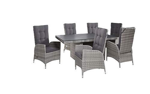 LC Garden Gartenmöbel Tischgruppe Dining Set 6+1 Parma White Grey Essgruppe Sitzgruppe Gartenset Gartengarnitur