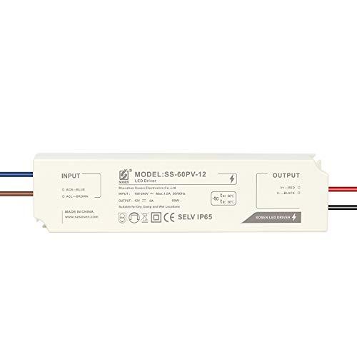 LIGHTEU®, Transformator LED Netzteil Treiber - 60 W, 12 V DC, 5 A, IP 65 - Konstantspannung für LED-Lichtbänder und G4, MR11, MR16 LED Glühlampen