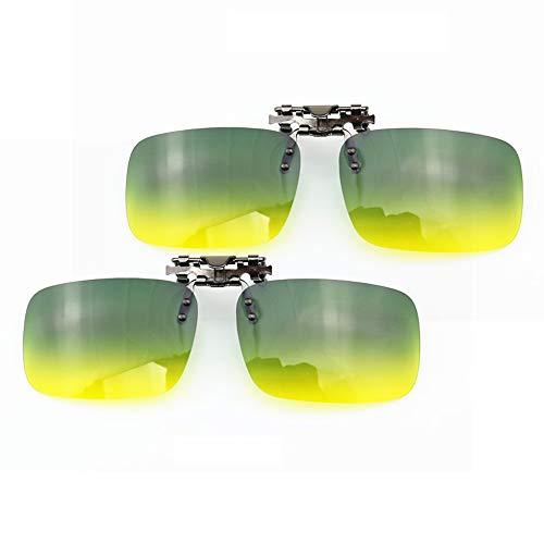 Jigan Gepolariseerde zonnebrillen, dag/nachtzicht-clip-on-zonnebril, unisex-lens, flip-up clip op brillen met dikte, metalen clip, 2 stuks