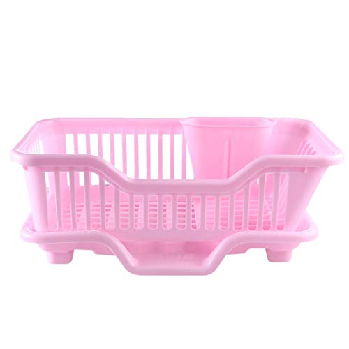 Vaorwne Environmental Plastic Kitchen Sink Dish Drainer Set Rack Washing Holder Basket Organizer Tray, Approx 17.5 x 9.5 x 7INCH (Pink)