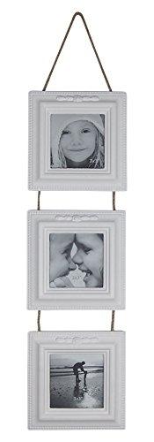 Bilderrahmen Vintage-Design 3er Ampel weiß lackiert ca. 52x12.5 cm für Fotos 7x7 cm