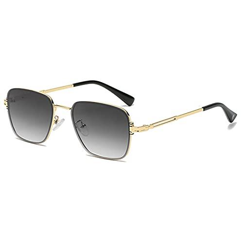 Tanxianlu Gafas de Sol pequeñas Retro para Hombre, Gafas cuadradas de Metal Dorado, Accesorios Masculinos Uv400, ceño Fruncido Negro,A