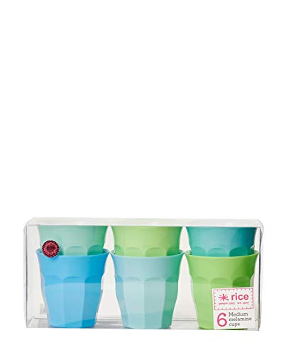 Melamin Becher 6er Set Blau und Grün Töne 9 cm hoch