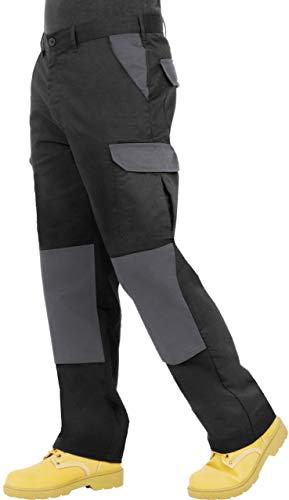 ProLuxe Pantaloni da Lavoro da Uomo, Resistenti, Modello Cargo, con Tasche Imbottite sulle Ginocchia e Cuciture rinforzate, (Nero/Grigio 34R)