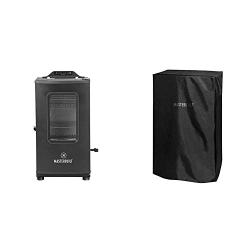 Masterbuilt MB20073519 Bluetooth Digital Electric Smoker with Broiler, 30 inch, Black & MB20080319 Electric Smoker Cover, 30 inch, Black