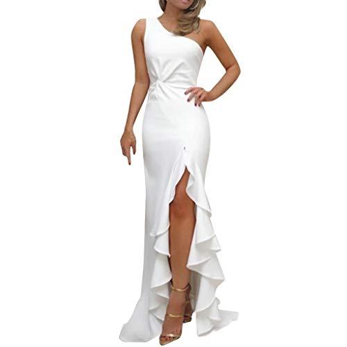 SHOBDW Vestidos Mujer Día De San Valentín Presente SóLido Un Hombro Vestido De Fiesta De Noche Formal Elegante con Pliegues Altos con Volantes De Hendidura Elegante Maxi Vestidos Largos(Blanco,L)