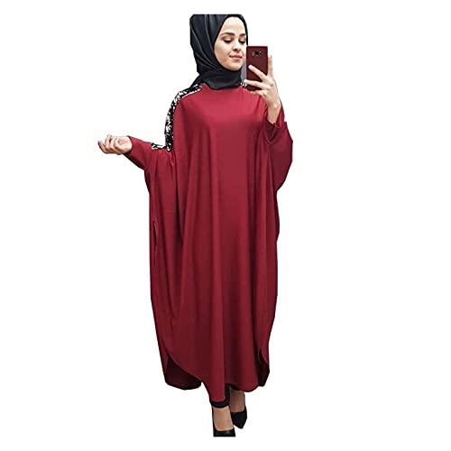 Vestido maxi musulmán para mujeres, traje étnico de manga larga de Abaya Dubai Kaftan (Color : Claret, Size : L)
