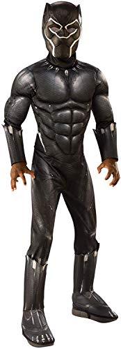 24costumes Black Panther Kostüm Deluxe | 2-teiliges Set: gepolsterter Overall mit Stiefeloberteilen & Maske |: Größe: L (122-128)
