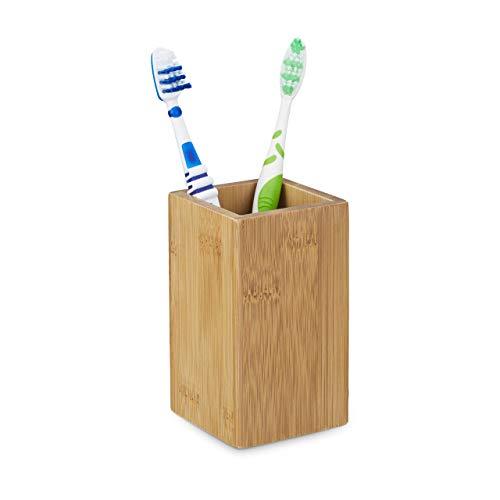 Relaxdays Zahnputzbecher Bambus eckig, natürliches Design, HxBxT: 11,5 x 6,5 x 6,5 cm, Natur