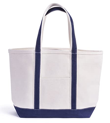 LILYPOND CANVAS Bolsa Lona Canvas Tote Bag * ULTRARESISTENTE * Playa, Barco, Campo, Picnic, Oficina, Viaje * 100% Algodon 20 oz canvas (680 g/m2) (Medium, Azul Marino)