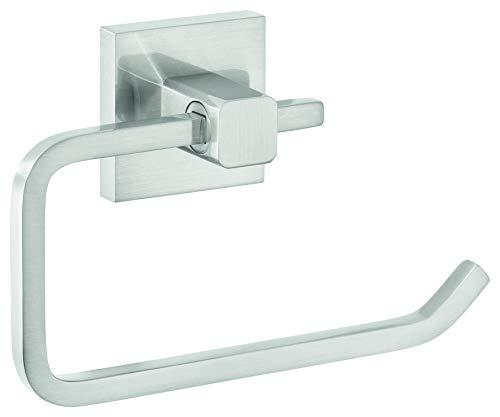 tesa EXXCLUSIV Toilettenpapierhalter ohne Deckel, Edelstahloptik, inkl. Klebelösung, garantiert rostfrei, 99mm x 160mm x 45mm