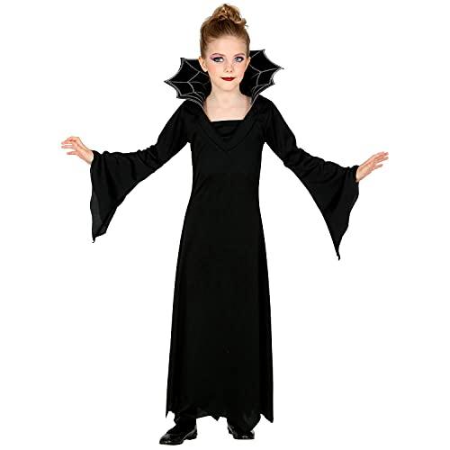 Widmann - Costume da vampiro per bambini, vestito lungo con colletto, colore argento nero, per ragazze, vampiro, pipistrello, costume, travestimento, carnevale, Halloween