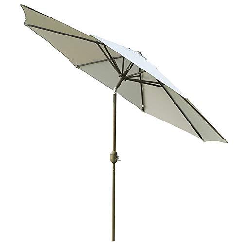 Wsaman 2.7M Aluminium Crank Garten Sonnenschirm, Schrägdach-Regenschirm für Standard-Faltbarer mit Handkurbel für Balkon Terrasse Garten Außen Regenschirm Terrassenschirm
