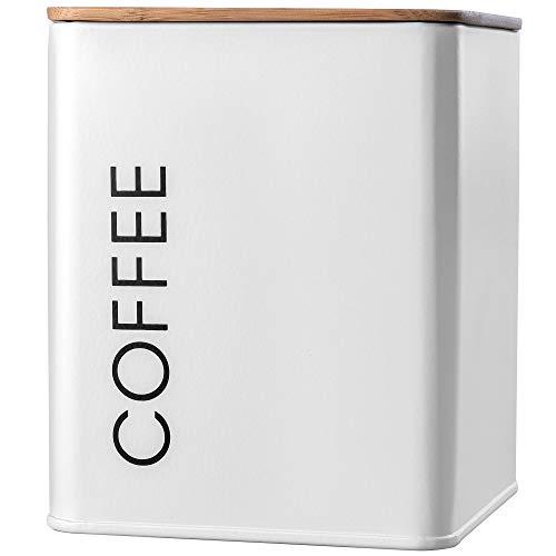 """KADAX Vorratsdose mit Deckel, Vorratsbehälter aus Stahl pulverbeschichtet, Aufbewahrungsdose, Aufbewahrungsbehälter, Behälter, luftdicht, auch für Gewürze, Kakao (quadratisch, """"Coffee"""", Weiß)"""
