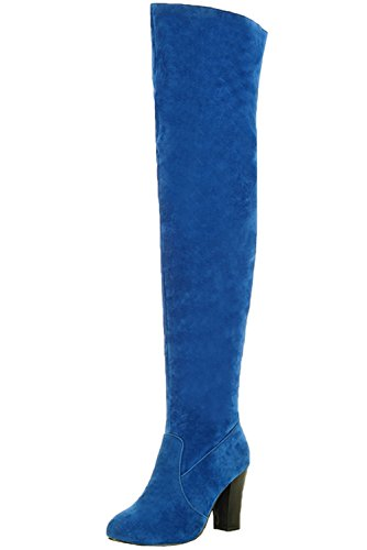 Unbekannt Oberschenkel Stiefel Damen High Heel Casual Herbst Winter Overknee Stiefel von Bigtree Blau 43 EU