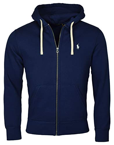 Polo Ralph Lauren Classic Full-Zip Fleece Hooded Sweatshirt Medium,Navy (White Pony)