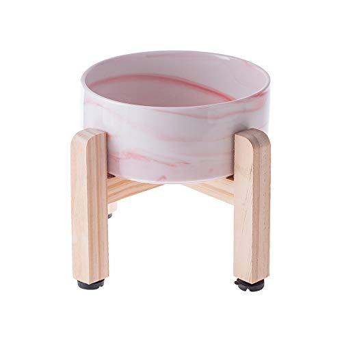 HCHLQLZ Marmo Rosa Ceramica Alzato Ciotole per Cani Gatti Alzata Ciotola Cane Gatto per Cibo Acqua -Combinato con Supporto in bambù