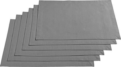 REDBEST Tischset, Platzset, Untersetzer Uni 6er-Pack Seattle, 100% Baumwolle - Robustes, glattes Gewebe, mit hochwertigem Kuvertsaum, grau Größe 30x45 cm (weitere Farben)