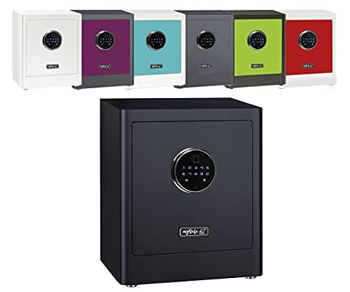 Caja fuerte electrónica para armario mySafe Premium 350, código numérico y escáner de dedos, diseño moderno, alta seguridad, color negro