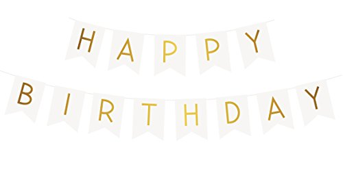 """Sterling James Co. """"Happy Birthday"""" Banderole ou Guirlande Joyeux Anniversaire Blanche dorée colorée – Décoration ou Accessoire pour fête Surprise en Famille Entre ami Filles"""