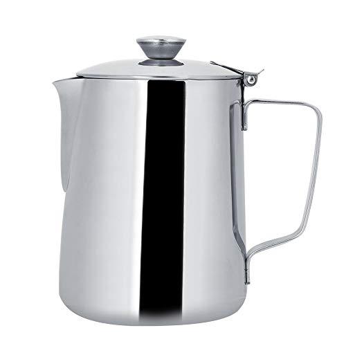 Fdit - Jarra para espumar leche de acero inoxidable con tapa