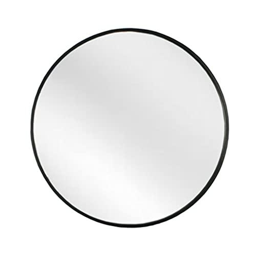 LWF Espejo De Pared De Baño Círculo Marco Aluminio Metal Grande Espejo De Afeitado Redondos Alta Definición Espejos De Maquillaje para Sala De Estar Pasillo Dormitorio, Negro(Size:60CM)