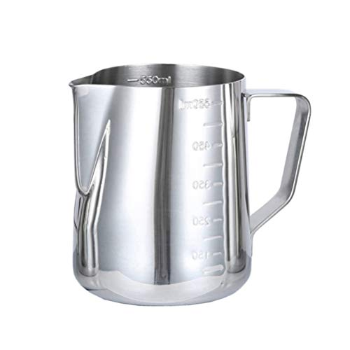 BESTonZON Acciaio Inossidabile Tazza di Latte, bricco da Latte Handheld caffè bricco Latte Art con Marchio di misurazione, lattiera Perfetto per Cappuccino Barista Espresso Making 600 Ml