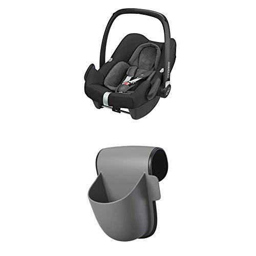 Maxi Cosi Pearl One i-Size Reboarder Autositz, passend zur FamilyFix One i-Size Basisstation, Gruppe 1 Kinderautositz (9-18 kg), Nomad Black + Pocket Becherhalter, grau
