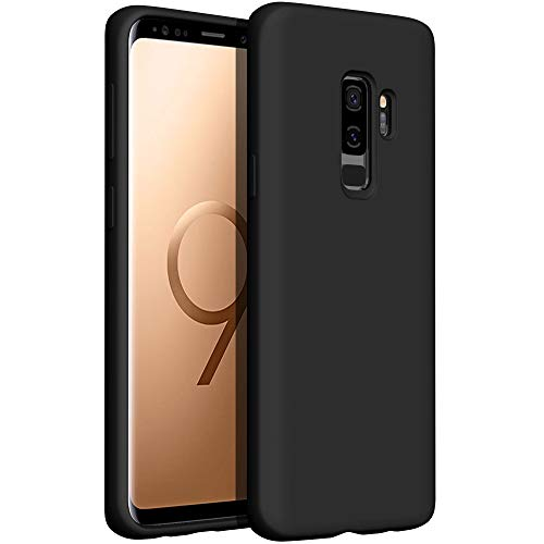YATWIN Compatibile con Samsung Galaxy S9 Plus Cover 6,2'', Cover per Samsung Galaxy S9 Plus Silicone Liquido, Protezione Completa del Corpo con Fodera in Microfibra, Nero