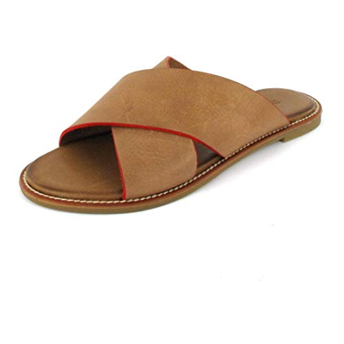 Inuovo Pantolette Sandals Camel-Neon Red Größe 39, Farbe: Camel-Neon Red