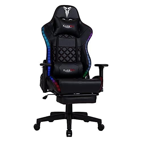 Kasorix RGB Chaise Gaming Chaise de Bureau avec Repose Pieds, Chaise Noire avec Réglable Accoudoir, Gamer Colorée Poids Capacité De Charge de 200 kg
