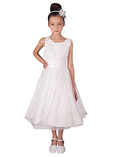 Boutique-Magique Robe de Communion Blanche avec Fleurs - Robe Blanche Fille, Blanc, 12 ans