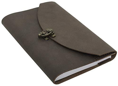 Buch Notizbuch Buchhülle Tagebuch herausnehmbares Einlegeheft DIN A5 Braun Leder