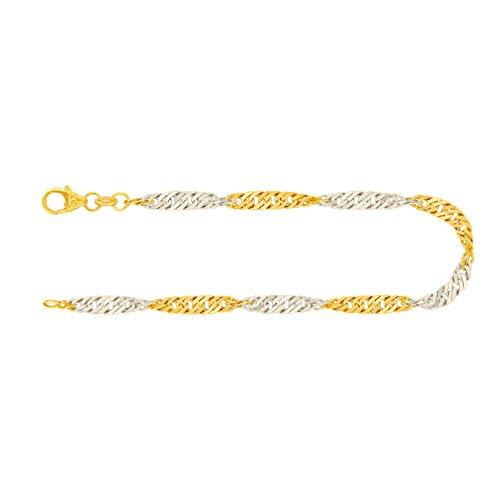 Feines Armband Damen Echt Gold 2,4 mm, Singapurkette aus 585 Bicolor, Goldarmband mit Stempel und Karabinerverschluss, Länge 19 cm, Gewicht ca. 2 g, Made in Germany