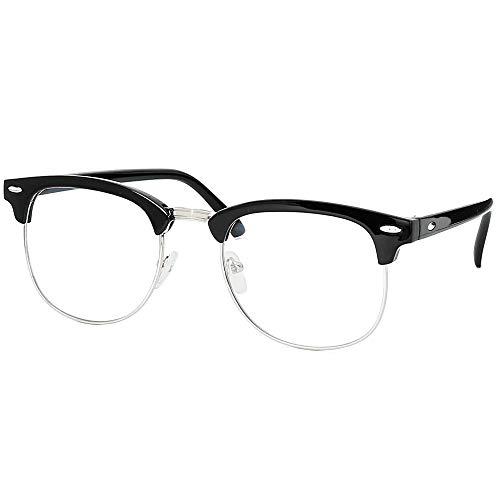 Skeleteen Clear Lens Costume Glasses - Non Prescription Horn Rimmed Fake Club Eyeglasses for Adults and Children