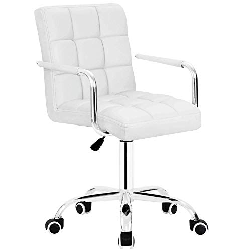 Furmax Mid-Back Office Task Chair Ribbed PU Leather Executive Chair Modern Adjustable Home Desk Chair Retro Comfortable Work Chair 360 Degree Swivel with Arms (White)