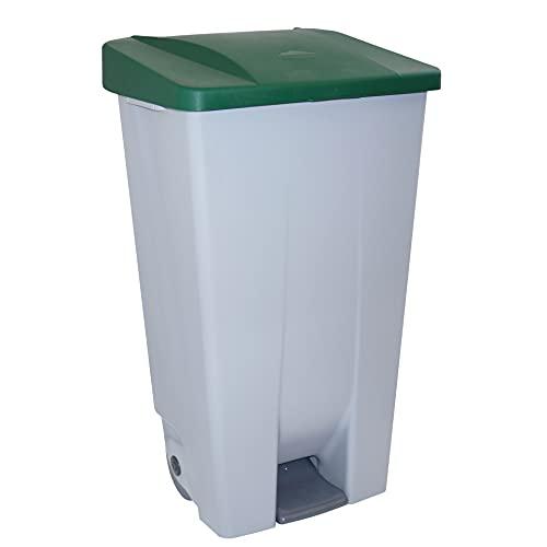 Denox 23400 - Contenedor basura selectivo con pedal y ruedas, color verde, talla 120 L