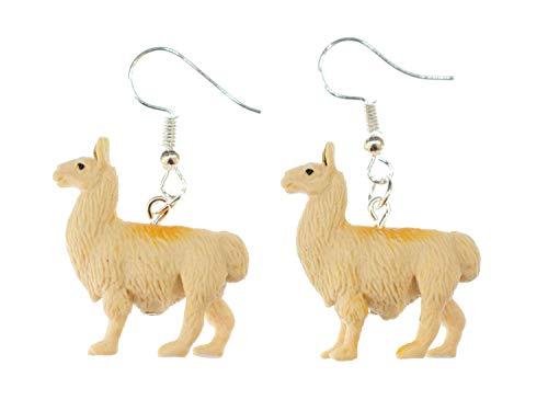 Pendientes de alpaca Miniblings Lama pendientes de America del Sur Perú goma de color beige camello - joyería hecha a mano de plata de la manera Pendientes plateado I