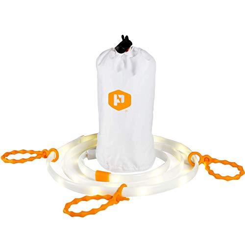 Luminoodle LED Cordon lumineux + Batterie au lithium - Ensemble d'éclairage complet pour camping, randonnée, sécurité, urgence - Portable LED aux cordes lumineuses qui se transforme en lanterne LED
