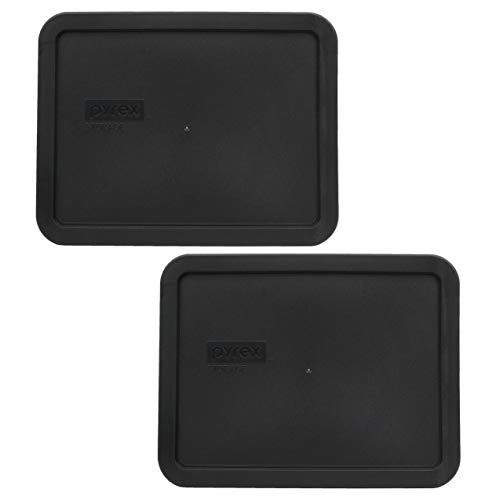 Pyrex 7211-PC Black Plastic Rectangle Replacement Storage Lids - 2 Pack