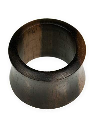 Fly Style Flesh Tunnel Saddle Plug aus Ebenholz | von 4 bis 30 mm | Double Flared | Natur Ohr Schmuck für Damen und Herren, Grösse:6 mm