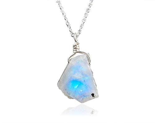 OOAK by Virat - Collar de piedra lunar cruda en cadena de plata de ley 925 de 18 pulgadas, piedra natal de junio, joyería hecha a mano