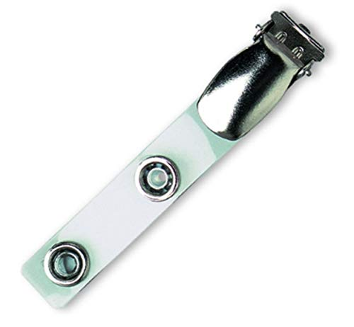 Waizmann.IDeaS 5x Metallclip mit TRANSPARENTER Lasche Hosenträgerclip Metalldruckknopfverschluss Clip für Kartenhalter Ausweishülle Ausweishalter Namensschildhalter Ausweisclip