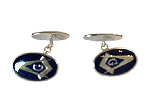 Manschettenknöpfe, freimaurerisch, blaue Emaille & silberfarben, oval, mit Kette – 'G' in Manschettenknopf-Box – Times New Roman – Gravur
