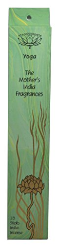Yoga High Quality Fair Trade Handmade Incense - The Mother's India Fragrances - 20 Joss Incense Sticks - Sandalwood & Patchouli Blend- Burn time 1-2 hours - Great for Relaxing Meditation -Free Postage! by The Mother's India Fragrances