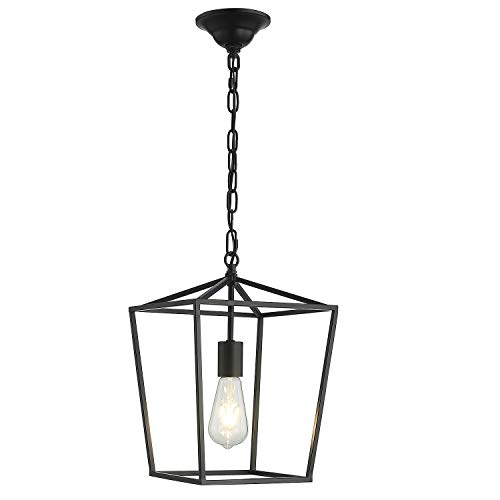 ANJIADENGSHI Vintage Lantern Pendant Light Lantern Iron Adjustable Hanging Height with 1 E26 Bulbs Lantern Chandelier for Dining Room Kitchen, Matte Black